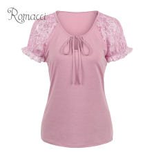 Romacci Female T-shirt Floral Lace Sleeve Plus Size Women's T-shirt XXXl 4XL 5XL Self Tie Casual Basic Summer T shirt Top 2019(China)