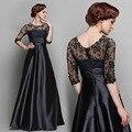 Elegant black lace meia manga O pescoço patchwork vestido de noite longo maxi dress vestido club party dress robe de soiree vestido de noche