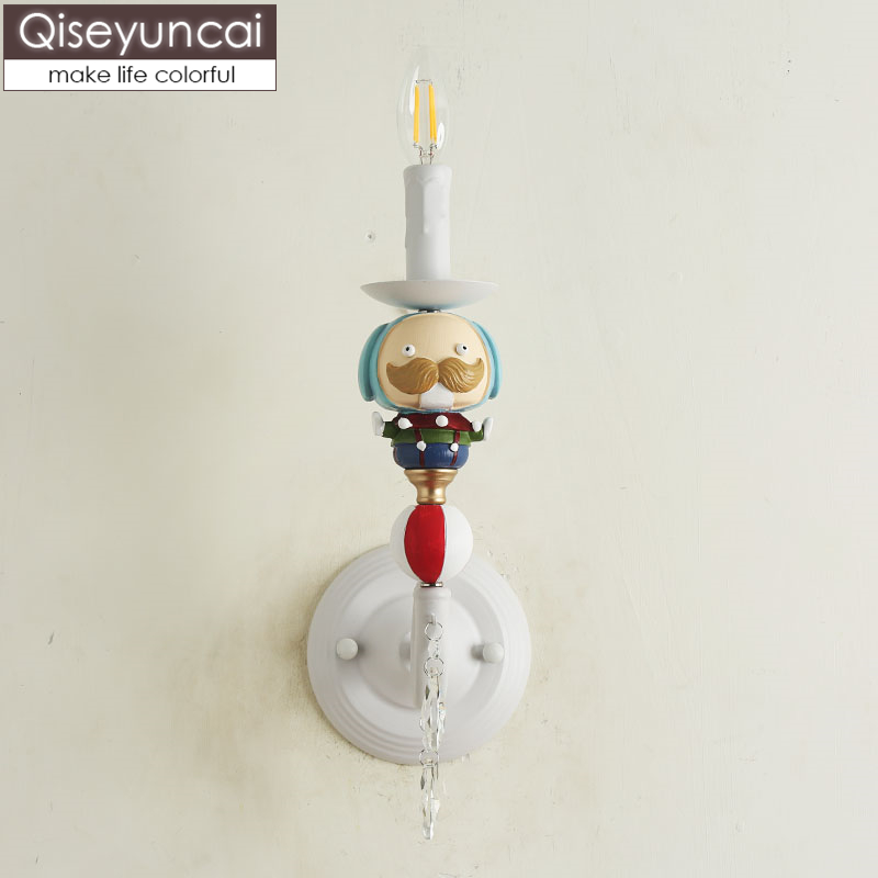 Qiseyuncai 2019 new Nordic clown childrens room wall lamp boy girl bedroom model room bedside lamps free shippingQiseyuncai 2019 new Nordic clown childrens room wall lamp boy girl bedroom model room bedside lamps free shipping