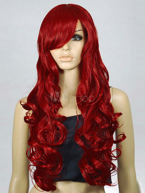 Mermaid Wig Long Curly Wavy Red Redhead Costume Accessory