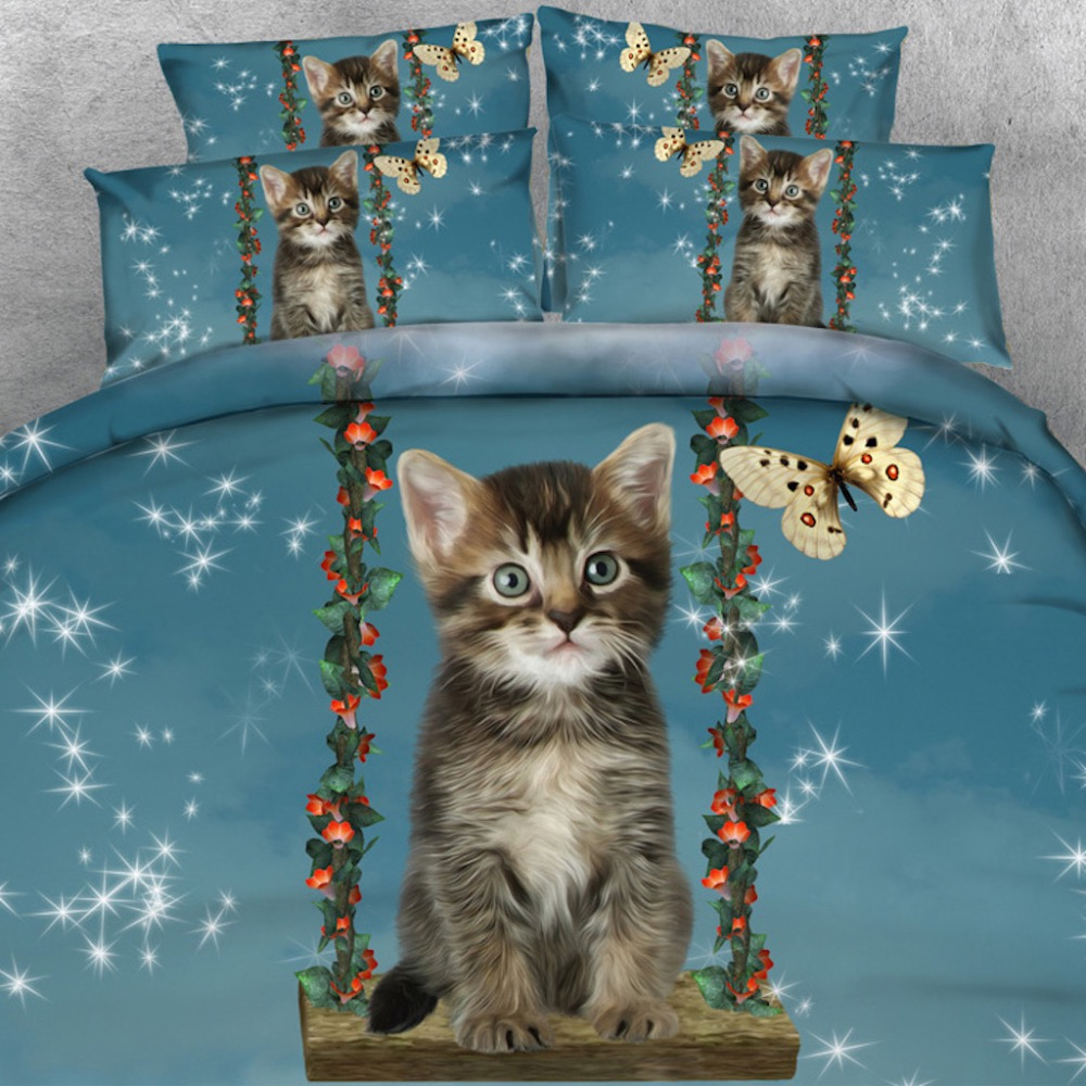 Royal Linen Source Brand 3 PCS Per Set Pretty Blue Eyes Cats and Red Love Hearts 3d Bed Linen Bed Cover Set