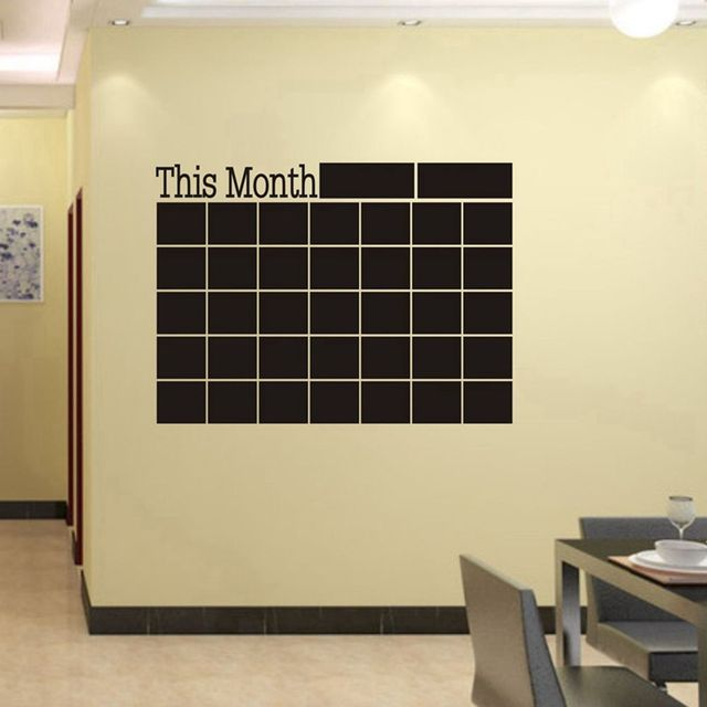 1Set Monthly Chalkboard Wall Sticker Decor Month Plan Calendar ...