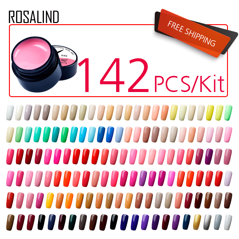 (142PCS/LOT)ROSALIND Gel Nail Varnishes Painting Gel Nail Polish Set 5ML UV Nails Art Long Lasting Design Manicure Gel Lacquer blueness 10pcs lot 3d crystal rhinestones design nails art decorations nails glitter studs accessories for manicure uv gel