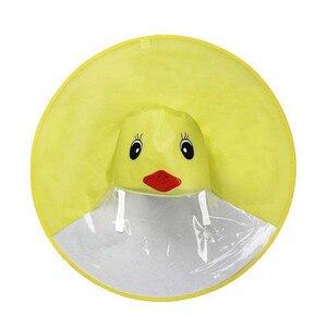 Image 4 - 귀여운 레인 코트 만화 오리 키즈 레인 코트 UFO 어린이 우산 모자 마법의 손 무료 탑스 소년과 소녀 Windproof Poncho Baby