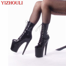 ankle boot sexy high heels for knightswomen, a pair of black autumn and winter 20 cm platform shoes women, stage show Boots