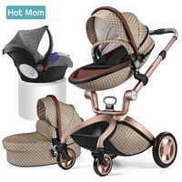 Hot Mom stroller high landscape can sit reclining folding lightweight children's trolley Eco leather