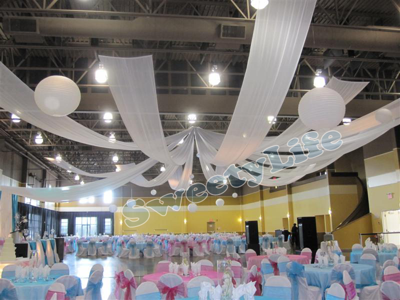 Wedding 12 Pieces Ceiling Drape Canopy Drapery For Decoration Wedding  Fabric 0.45m*10m Per Piece Roof Polyester Knitted Fabric In Banners, ...