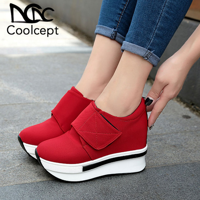 Coolcept Women Spring Autumn Fashion Platform Shoes With Zip Casual Sweet Sneakers Shallow Women Shoes Size 35-40