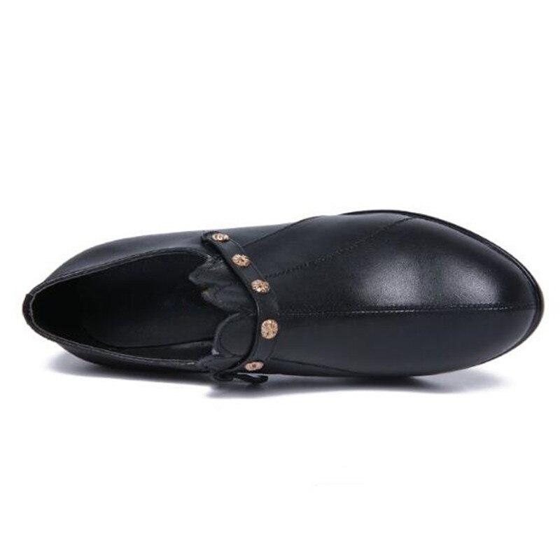 Bouche Chaussures Automne Chaud Shoes 2018 Femmes Mode Shoes En Confort Black Winter Bottes Talon Profonde Non brown slip hiver Shoes De Vache Cuir Single black Haute Femme Pompes Nouveau bgfv6yY7
