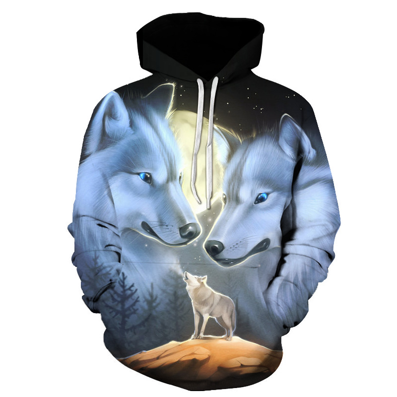 Space Galaxy Sweatshirts Men/women Tracksuits Tops Print Galaxy Wolf Hooded Hoodies Thin Autumn Sweatshirts