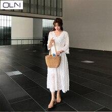 Dress Summer Korean version Vestidos OLN small fresh V-neck sleeveless strapless lace flower dress for women цены
