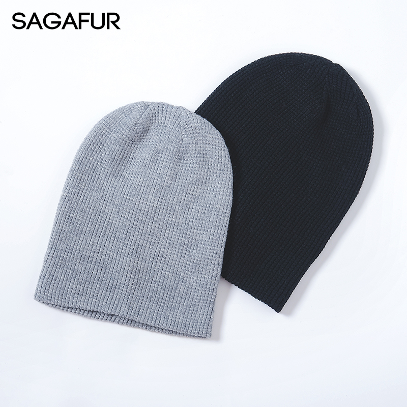 Spring Autumn Knitted Hat Female Cotton Blends Unisex Solid   Beanies   For Men Winter 2018 New Black Cap Slouchy   Skullies     Beanies