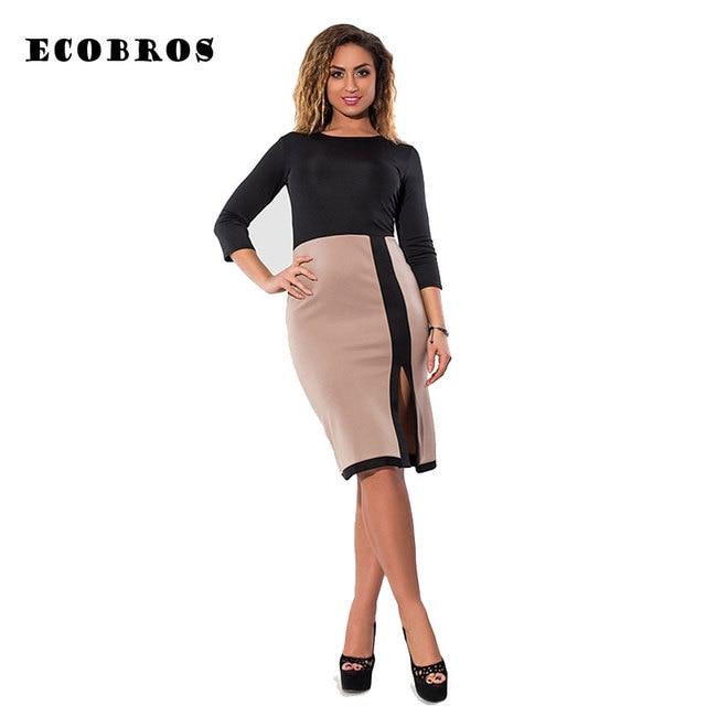 775eccf328f ECOBROS Big size 6XL 2017 New Fat MM Woman office dress Casual bodycon  patchwork work dresses plus size women clothing 6xl dress