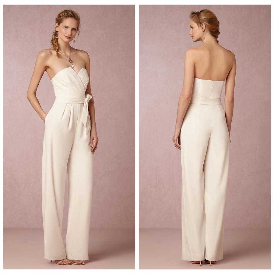 The Bride Gowns For Wedding Reception: Ivory Chiffon Reception Jumpsuit For Bridal Wedding After