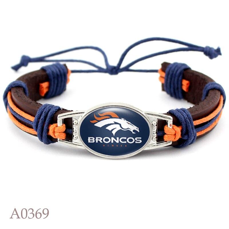 10 PCS Denver Broncos Football Team Real Leather Bracelet Adjustable Mens Real Leather Bracelet For Women Men