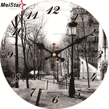 MEISTAR Vintage Home Decoration Wall Clock Beautiful Scenery Design Silent Office Cafe Watch Decor Clocks