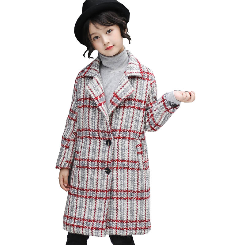 Girls Wool Coats Spring Girls Clothes Fashion Plaid Kids Jackets Children Clothing Outerwear 4-14 years Girls Autumn long Coat autumn winter plaid wool two pieces girls children suit vest dress kids clothing sets white red wool