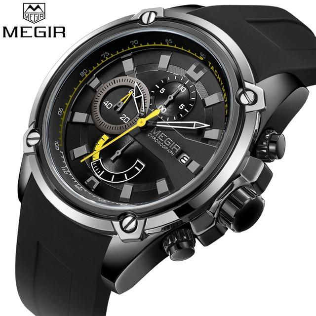 レロジオ masculino MEGIR メンズ腕時計トップブランドの高級クロノグラフ防水スポーツ男性時計ゴム腕時計 2086