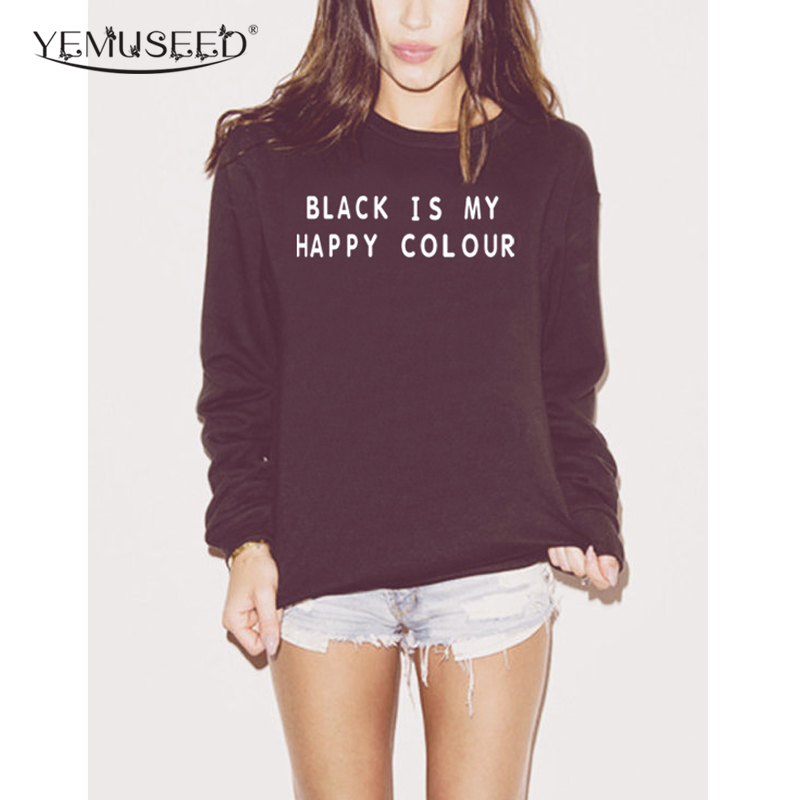 h1165 harajuku women sweatshirt black is my happy color print casual hoody for lady funny. Black Bedroom Furniture Sets. Home Design Ideas