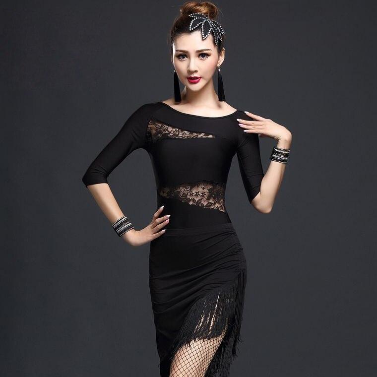 Performance Women Rumba Dance Wear Lace Costume 4pcs Set With Bracelet Ballroom Fringe Latin Dress Women Samba Costume