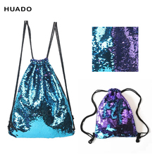Drawstring Bags backpack Double Color Sequins Travel Drawstring Backpack