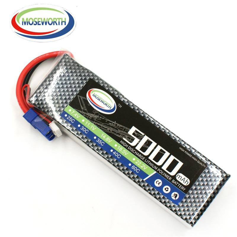 MOSEWORTH 2S RC Lipo Batería 7.4v 5000mAh 60C Para RC Aviones - Juguetes con control remoto