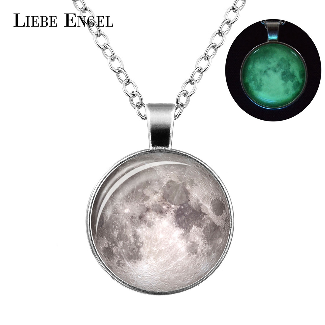LIEBE ENGEL Glowing in the Dark Galaxy Moon Pendant Necklace