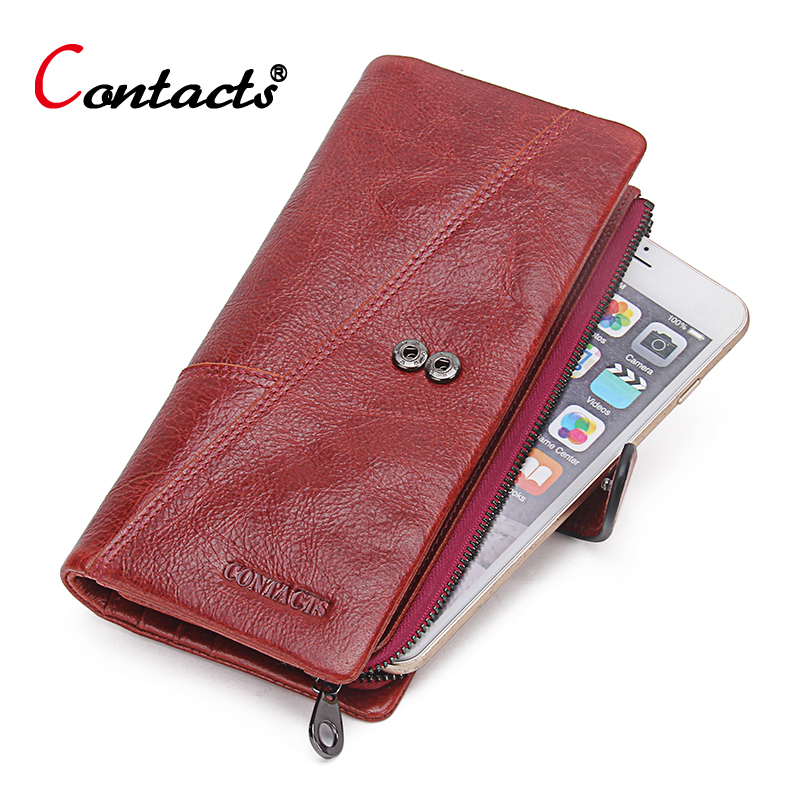 ФОТО CONTACT'S Genuine Leather Wallets Women Long Purses Designer High Quality Women Card Holder Ladies Coin Purses Women Wallets