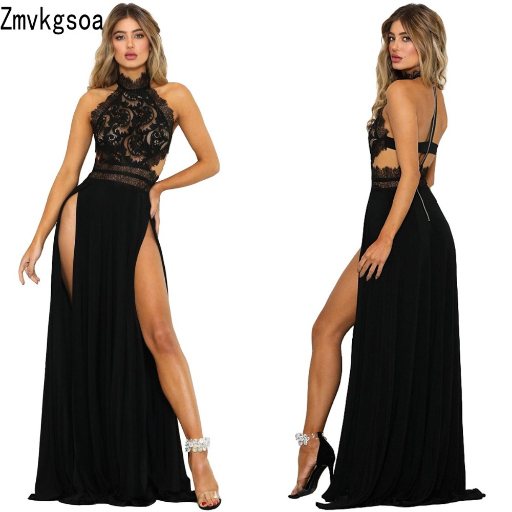 Zmvkgsoa Sexy Womens Maxi Lace Dresses Club Vestido De Festa Backless Fashion See Through High Slit Party Long Dress Robe Y2943