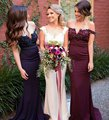 Vestido Madrinha Longo Navy Blue Mermaid Bridesmaid Dresses Burgundy Beaded Applique Sexy Wedding Party Dresses Formal Dresses