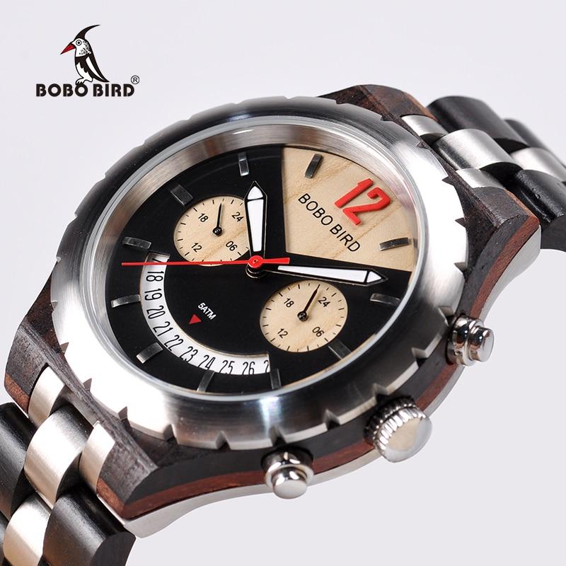BOBO UCCELLO di Lusso Woode Mens Orologi di Marca Top In Acciaio Inox Impermeabile Orologio con Data Display orologi acciaio uomo
