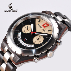 Image 1 - Bobo bird 럭셔리 우드 남성 시계 브랜드 방수 스테인레스 스틸 시계 날짜 표시 orologi acciaio uomo