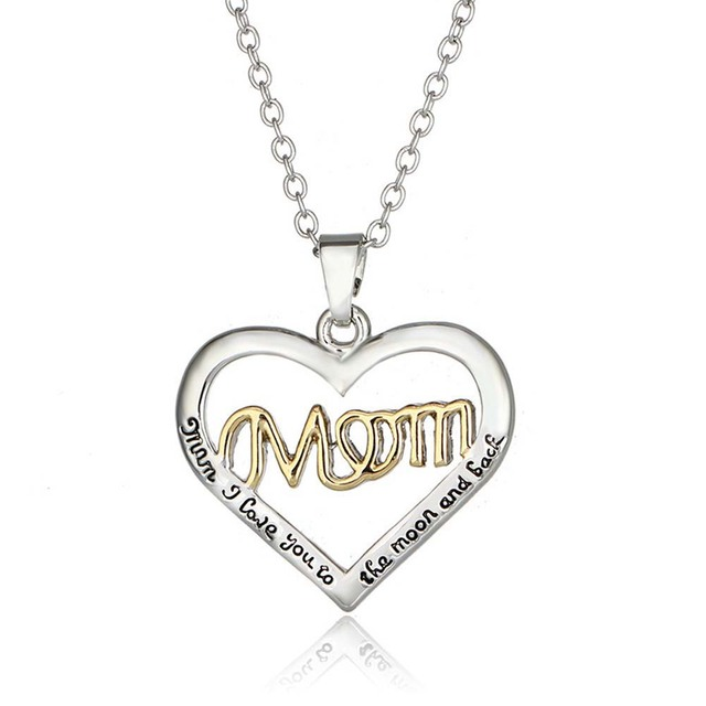 3eabf6ea7e7 2019 NEW Fashion Mother s Day Love Gift Mom Letter Heart Rhinestone Pendent  Necklace Personalized Jewelry for