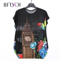 BFDADI 2017 Fashion Casual Long Women T-shirts  Tops Plus size T Shirt Women's Flower Bats short sleeves Top Tees 15160