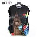BFDADI 2017 Moda Casual Camisetas de Mujeres Tops tallas grandes Mujeres de la Camiseta Murciélagos De Flores de manga corta Top Tees 15160
