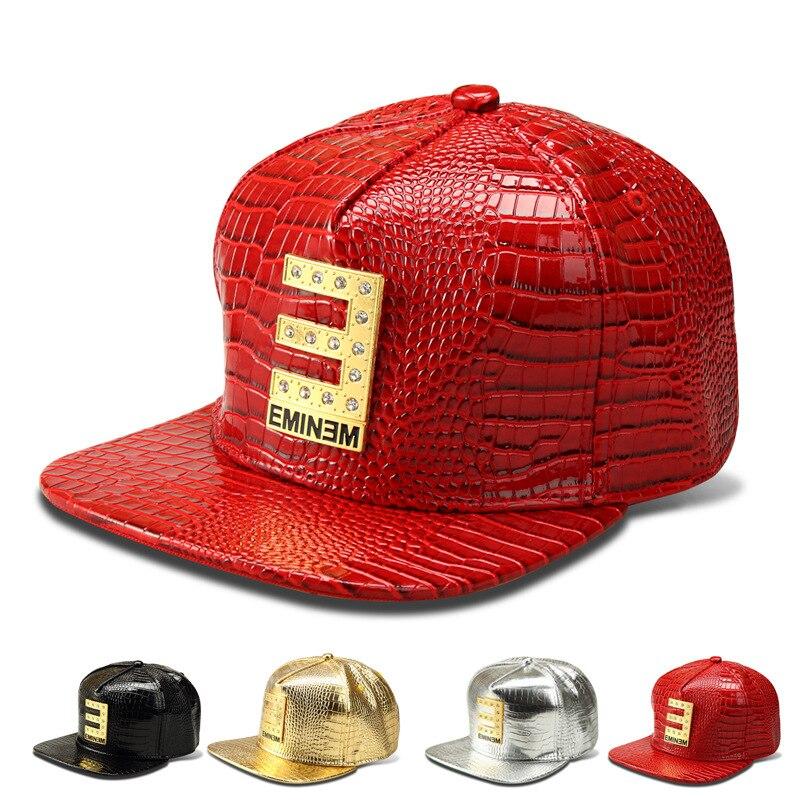 Prix pour Le nouveau Grain de Crocodile motif casquette de baseball à bords plats chapeau lettre EMINEM afflux de personnes hip-hop chapeau