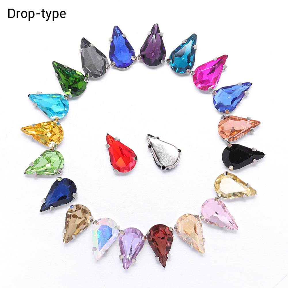 Hot Drop Shape Glass Rhinestones 50pcs/lot Sewing Claw Diy Clothing Wedding Dress Material Accessories