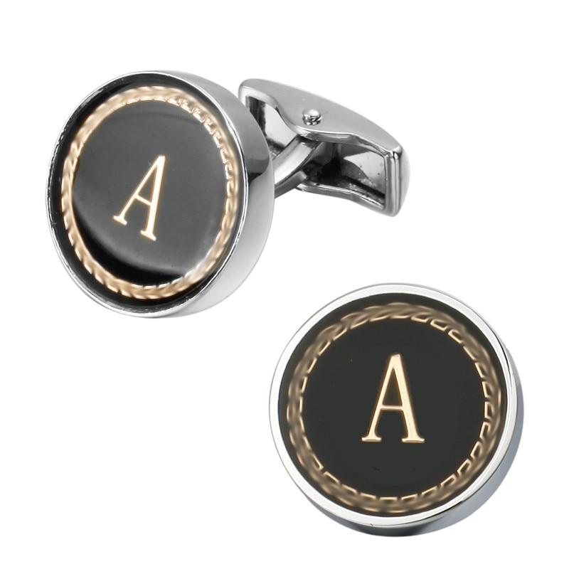 New Arrival Fashion Letter A D R H M Cufflinks The English Alphabet Cuff Links Men Shirt Charm Cufflinks Wholesale Free Shipping