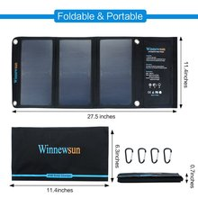 Winnewsun 5V 21W Solar Panel  Portable Foldable Charger Power Bank With Waterproof USB Outports For Smartphone Tablet