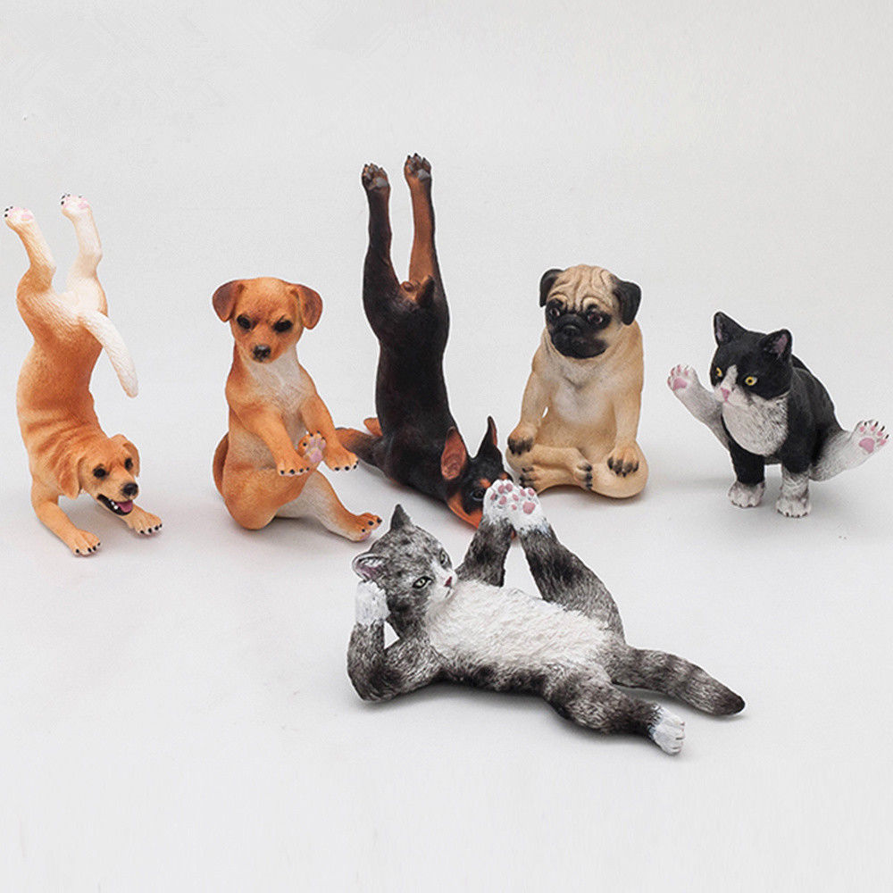 1 PCS Small Animal Figure Model Kitten Puppy Cat Dog Sports Series Adult Kids Collection Toys Gift Home Decor