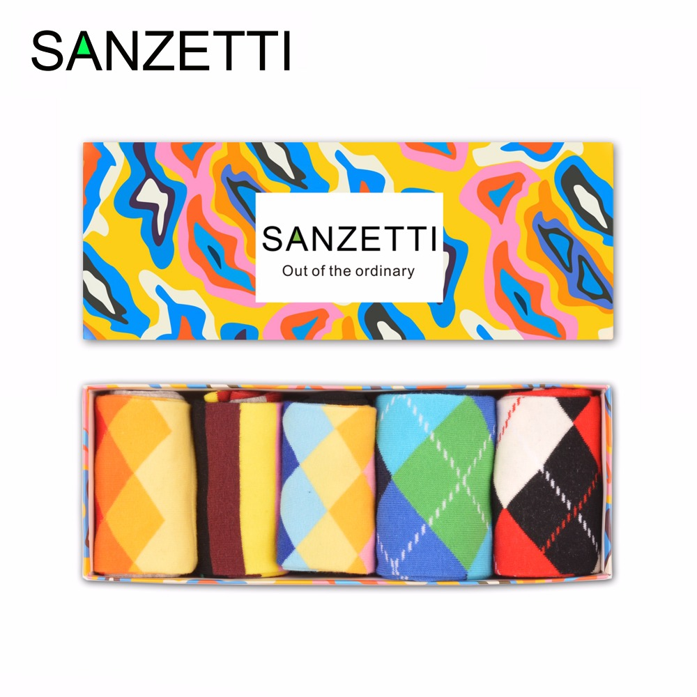 SANZETTI 5 pairs/lot Gift Box Fashion Mens Combed Cotton Funny Crew Socks Classic Geometric Pattern Causal Trendy Streetwear