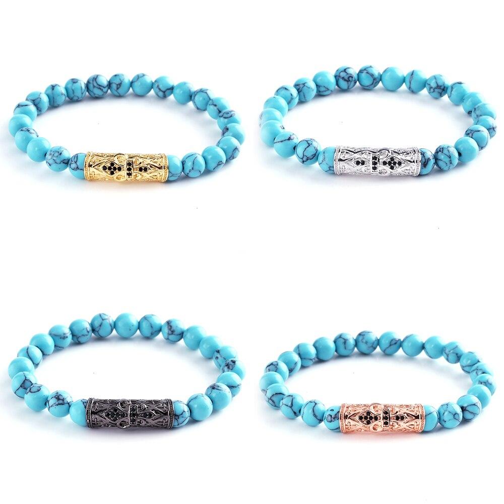 DIY Handmade Beaded Bracelets Green Natural Stone Beads Bracelets Femme Homme Charm Rhinestone Metal Long Tube Bracelets