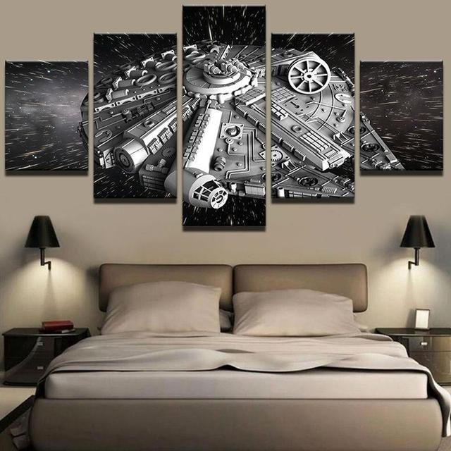 5 panel HD impreso enmarcado Star Wars la nave pared lienzo arte ...