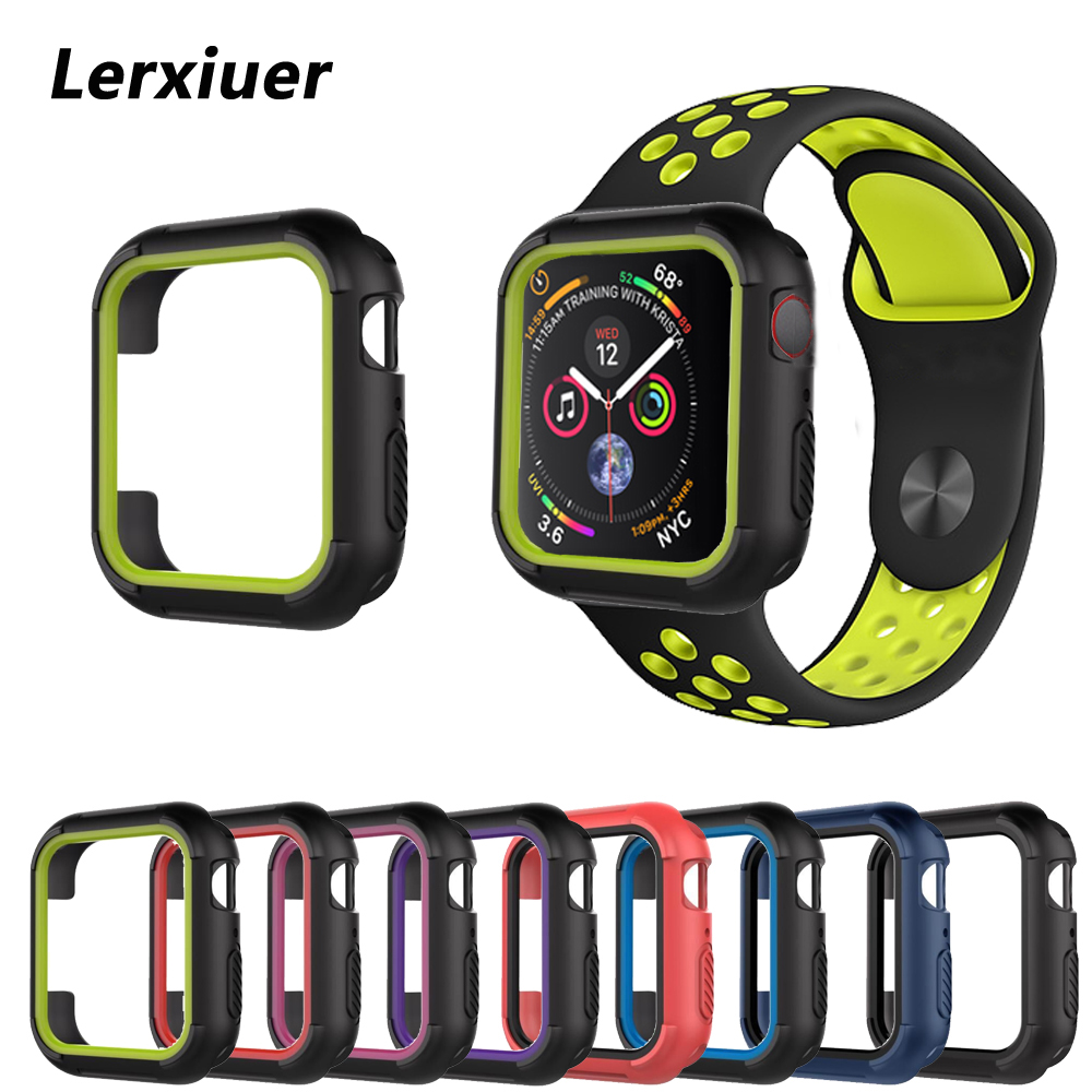 Silicone TPU Protective cases cover For Apple watch 4 44mm 40mm Case iwatch band series 4 Replacement Protection frame protective tpu bumper frame for iphone 4 4s green