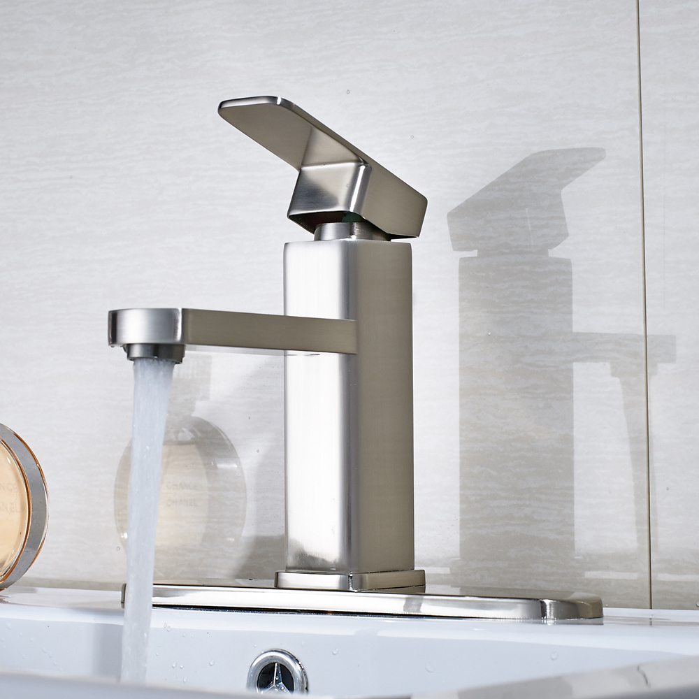 цена на Free Shipping Solid Brass Deck Mounted Bathroom Sink Faucet Single Hole Mixer Tap With Cover Plate Nickel Brushed