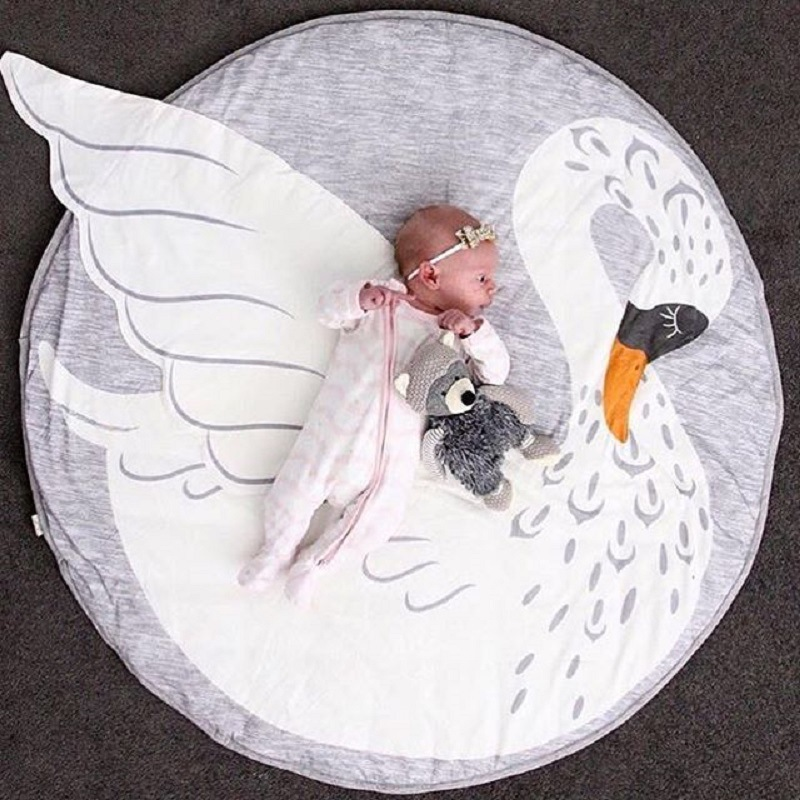 95CM Cartoon Swan Baby Blanket Cotton Swaddle Me Crawling Pad Games Round Blanket Carpet Childrens Room Decoration Bedding