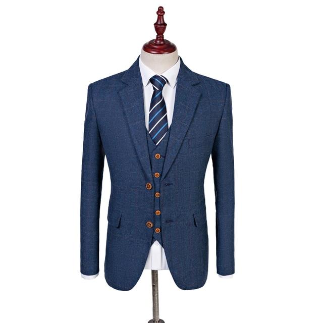 7f7fa8d6e0 Wool Blue Herringbone Retro Gentleman Latest Coat Pant Designs Groom Tuxedo Men  Suits Wedding Best Man Blazer (Jacket+Pant+Vest)
