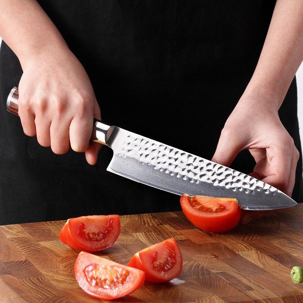 Juego de cuchillos de Damasco 2 piezas cuchillos de cocina japoneses cuchillo de cocina de Chef 67 capas herramientas de cocina de acero inoxidable de Damasco japonés-in Conjuntos de cuchillos from Hogar y Mascotas    2