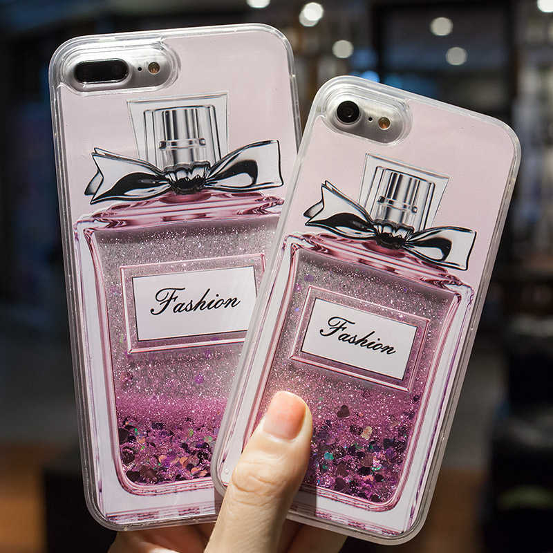 Funda de arena movediza líquida para iPhone 7 SE 6 6 S Plus 5 5S brillo dinámico botella de bebida líquida CaseFor iPhone funda transparente 7 8 Plus X