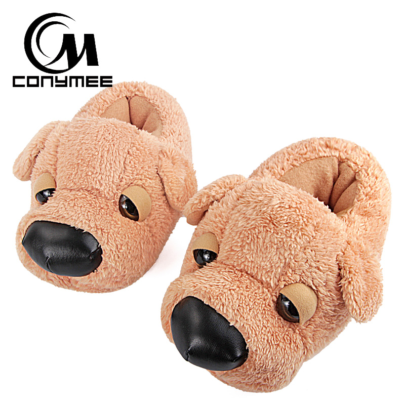 CONYMEE Winter Fur Slippers Animal Funny Shoes For Men/Women Cartoon Dog Indoor Home Slippers Women Warm Plush Furry Slippers 2017 totoro plush slippers with leaf pantoufle femme women shoes woman house animal warm big animal woman funny adult slippers page 8